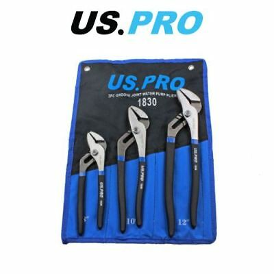 US PRO 3pc Groove Slip Joint Water Pump Pliers Set 1830
