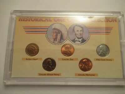 Historical Cent Collection, 5 coins, incl. 1900 Indian & 1943 Steel
