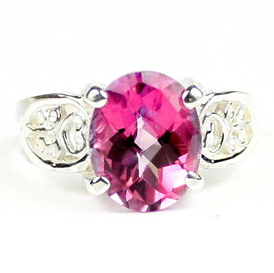 • SR369, 3.3 carat Pure Pink Topaz, Sterling Silver Ladies Ring - Handmade