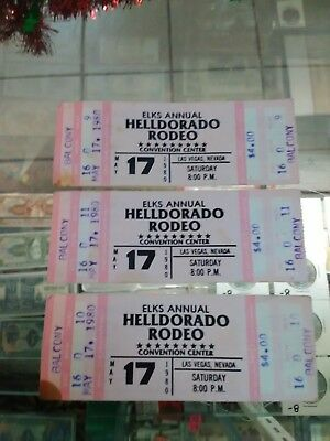 Lot Of 3 *Helldorado*Rodeo*Convention Center*Las Vagas*1980*Tickets*Elks Annual*