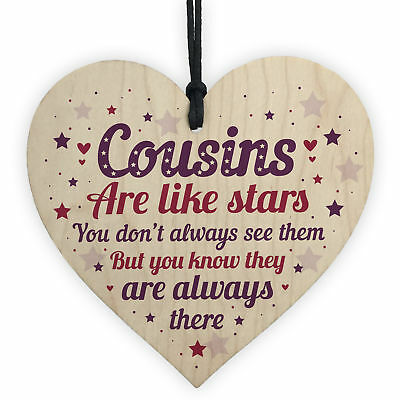 Cousin Heart Plaque Wooden Birthday Card Male Female Christmas Gifts Sign