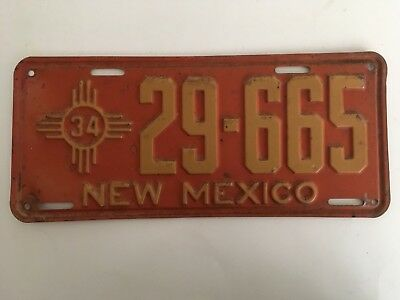 1934 New Mexico License Plate 100% All Original Paint
