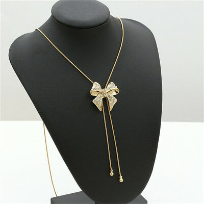 Gold/Sliver Crystal Bow Pendant Charm Necklace Chain Fashion Jewelry 8C