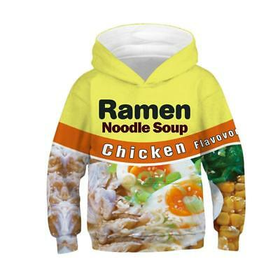 Kids Boys/Girls Ramen Noodle 3D Print Hoodie Sweatshirt Pullover Jumper Coat New