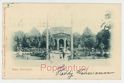 Russia Postcard 1902 Gruss aus Riga Latvia Stadtpark Posted to USA