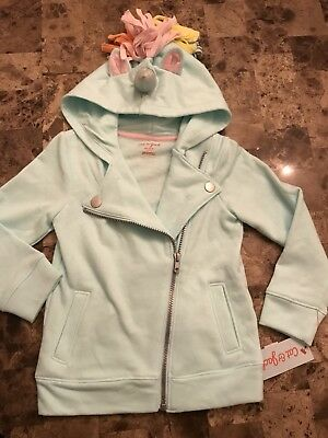 NWT Girls' Adaptive Unicorn Zip-Up Hoodie - Cat & Jack™ Mint Green