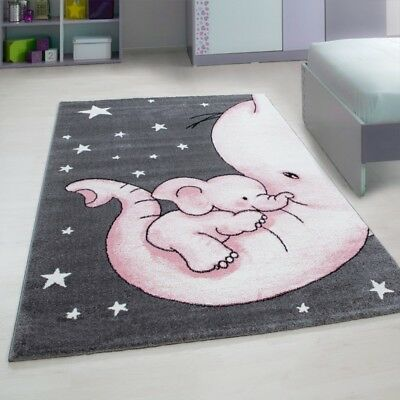 Childrens Animal Rug Grey Pink Elephant