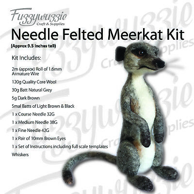 Needle Felted Meerkat Kit Includes Core Wool Armature Wire Needles instruction