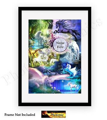 Personalised Magical Unicorn Pegasus Horse Photo Poster Print ONLY Wall Art A4