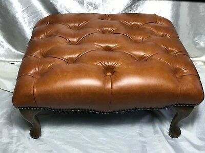 Large Luxury Leather Chesterfield Style Light Tan Brown Footstool Xmas Present