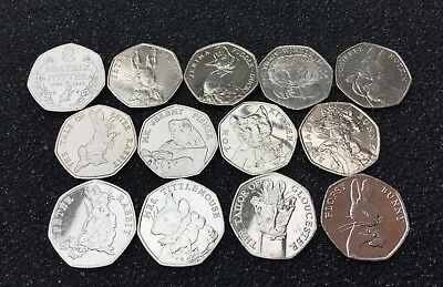 All 13 BEATRIX POTTER COINS UNCIRCULATED 50p UNC 2016 2017 2018 BEAUTIFUL!