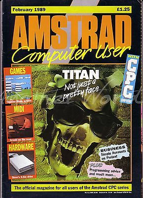 Amstrad Computer User / ACU Magazine - February 1989 Very Good Condition Bagged
