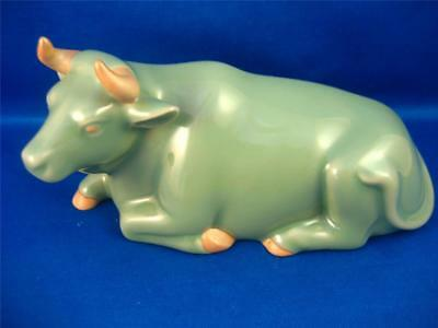 Vtg Celadon Cow Ox Shadow Green Glazed Japanese Chinese Zodiac 4 x 6 Greenware