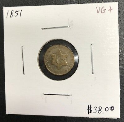 1851 U.s. Three 3 Cent Silver ~ Very Good+ Condition! $2.95 Max Shipping! C482