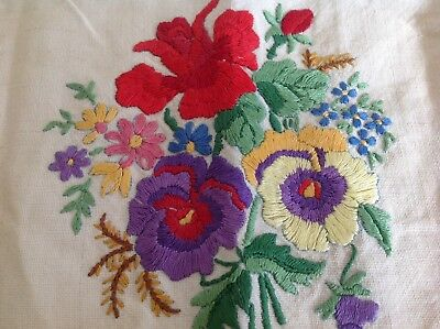 """Beautiful Vintage Hand embroidered Antimacassar Settee Back PANSIES/FLORALS 36"""""""
