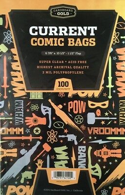 200 CBG Current / Modern Comic Book Archival Poly Bags + Acid Free Backer Boards