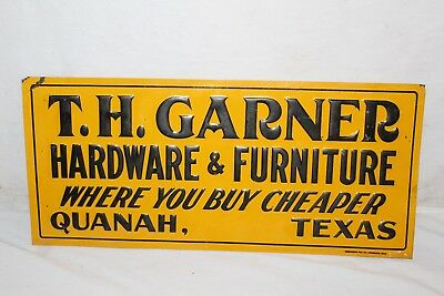 "Vintage 1930s Garner Hardware & Furniture Texas Gas Oil 20"" Embossed Metal Sign"
