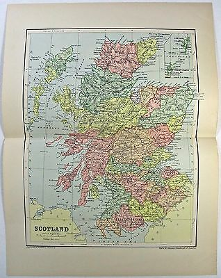 Original 1895 Map of Scotland by W & A.K. Johnston