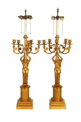 A Large Pair of French Empire style Gilt Bronze Five-Light Candelabra Lamps