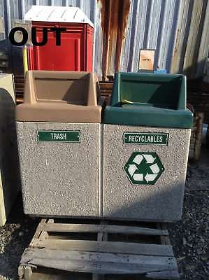 "40 Gallon Commercial Cement/Stone Outdoor Trash and Recycling Can 50""X25""X52"""