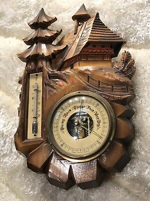 Vintage Wall Germaney Victorian Barometer And Thermometer Carved Walnut Case