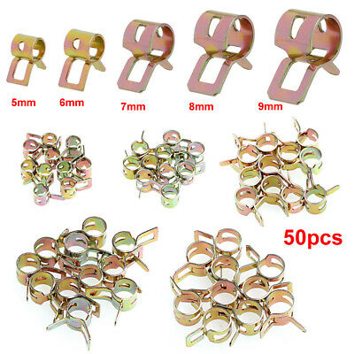 50Pcs Fastener 5/6/7/8/9mm Spring Clip Fuel Water Line Hose Pipe Air Tube Clamps