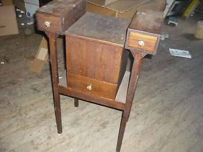 Early 1800S American Antique 3 Drawer Sewing Cabinet  Lidded Top unusual early