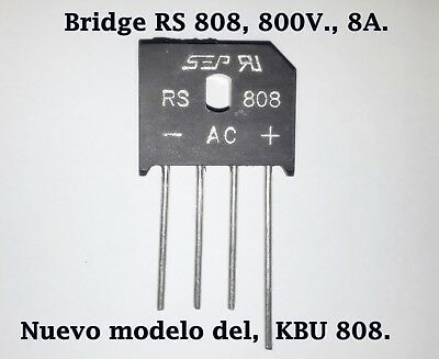 Puente rectificador monofasico RS808. (KBU808) 8A, 800V, Bridge Rectifier. 1Pcs