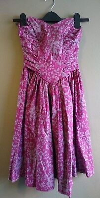 LAURA ASHLEY Pink/Grey Vintage/Retro/80s Floral Cocktail Prom Dress Size 8-10
