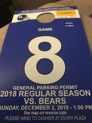 New York Giants vs Chicago Bears 12/02/2018 - PARKING PASS ONLY