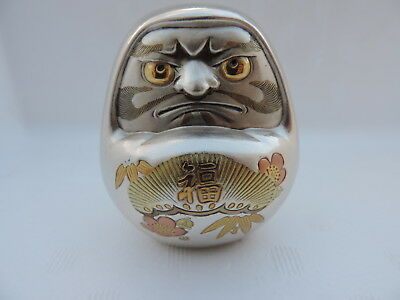 Exquisite Signed Silver Plated Japanese Daruma Wish Doll By Takehiko Japan