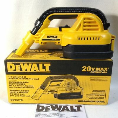 DEWALT Wet Dry Portable Vacuum Cleaner 20V 1/2 Gallon Cordless Vac DCV517B