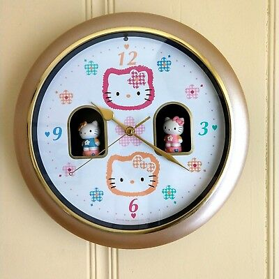 SANRIO Hour Chime Hello Kitty Vtg Cookoo Musical Wall Clock 1996 Interactive Art