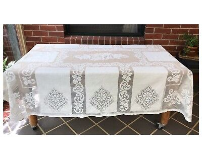 Vintage Cream Lace Table Cloth Rectangular Antique Linen Wedding Decor Bed Top