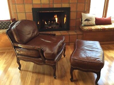 Horchow Neiman Marcus Old Hickory Tannery Nail Head Bergère Chair & Ottoman