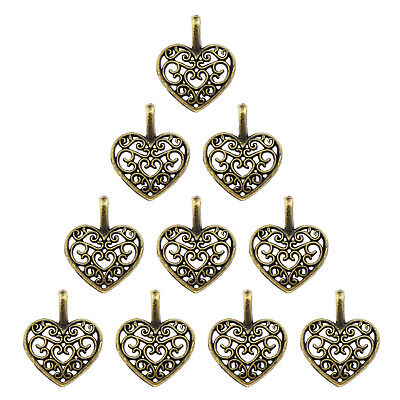 Pack of 100 Vintage Bronze Metal Hollow Love Heart Shaped Charm Pendants Jewelry