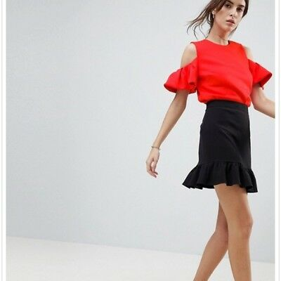 f730d942cba4a TED BAKER BETEY Cold Shoulder Ruffle Top Red Size 1 -  145.00