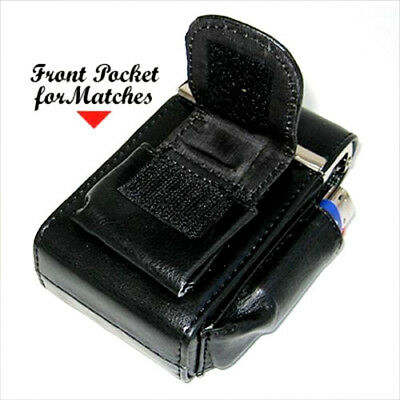 Black Leather Cigarette Hard Case Pouch Lighter Holder Fits 100's Regular New