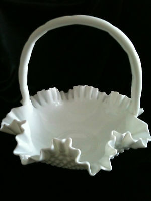 FENTON ~ LARGE WHITE HOBNAIL BASKET ~ 30cm x 30cm ~ PICK-UP MELB or POST