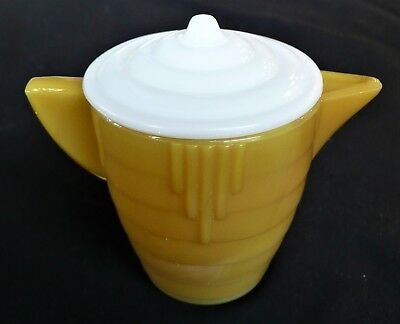 Akro Agate Small Stacked Disc Glass Yellow Teapot & White Lid