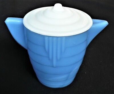 Akro Agate Small Stacked Disc Glass Blue Teapot & White Lid - #2