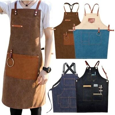 Denim Bib Apron Working Chef Leather Strap Barista Baker BBQ Cook Work Uniform