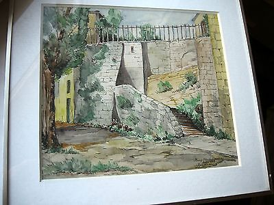 DEBBAUT  Raoul   AQUARELLE  Bourg St-Andeal  Ardeche  Aout 1947   24x27cm Encdr