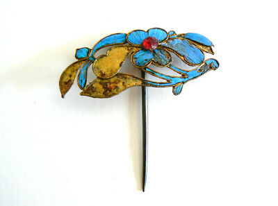 Qing Dynasty Kingfisher Feather Hair Pin Antique VINTAGE Blue Chinese Ca. 1850點翠