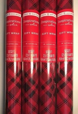 buffalo plaid wrapping paper lot 4 rolls christmas birthday red gift