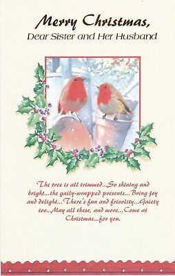 Christmas Card with Envelope for Sister & Husband