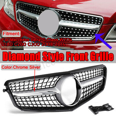 Diamond Front Grille Grill For Mercedes Benz W204 C Class C250 C300 C350 2008-14