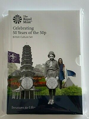 50 Years of the 50p BU British Culture 2019 Official 5 Coin Set Incl Kew Gardens