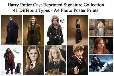HARRY POTTER A4 Photo Poster Prints Reprinted signed - 44 Cast Types Memorabilia