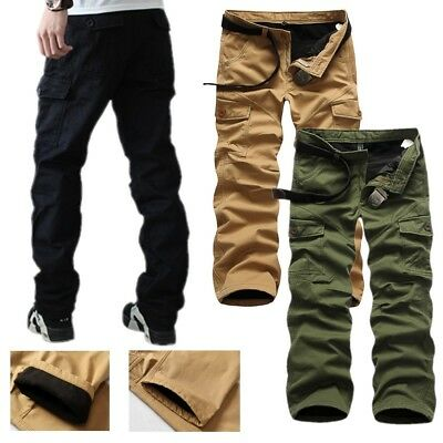 Fashion Mens Fleece Lined Winter Thermal Work Trousers Cargo Combat Pants Lot